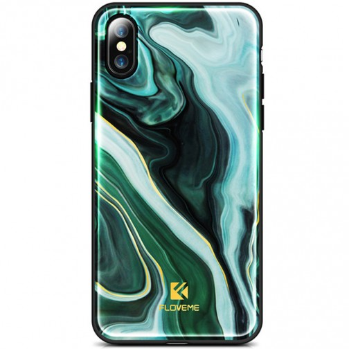 Kryt FLOVEME Agante Marble pro Apple iPhone X/XS mysterious green