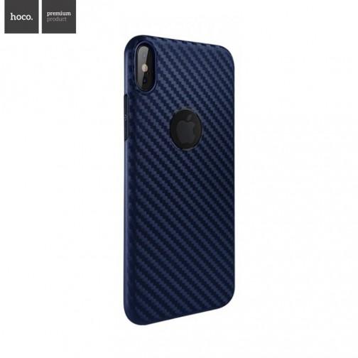 Plastový kryt na iPhone X/XS HOCO Carbon Fibre, ultratenký, modrý