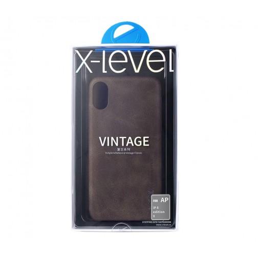 X-level Vintage kryt pro iPhone X/XS imitace kůže