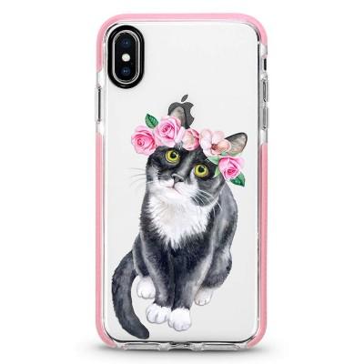 Pružný průhledný kryt pro iPhone 7/8/SE 2020 Kočka s květinami