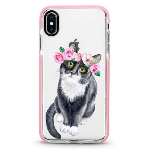 Pružný průhledný kryt pro iPhone 11 Kočka s květinami