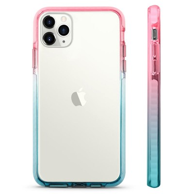 Pružný průhledný kryt pro iPhone 7/8/SE 2020 Růžovo/Modrý rám