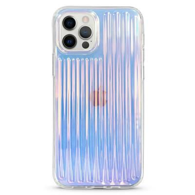 Pružný průhledný kryt pro iPhone 7/8/SE 2020 Vroubkovaný modrý