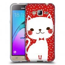Silikonové pouzdro na Samsung Galaxy J3 (2016) - Head Case - kočička bílá na červené