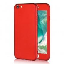 Clearo kryt 360 pro iPhone 6/6s + tvrzené sklo na displej - červený