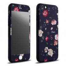 Clearo kryt 360 pro iPhone 6/6s Květiny + tvrzené sklo na displej