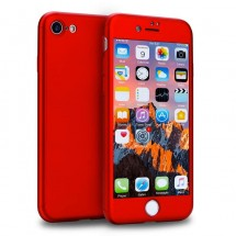 Clearo kryt 360 pro iPhone 8/7 + tvrzené sklo na displej - červený
