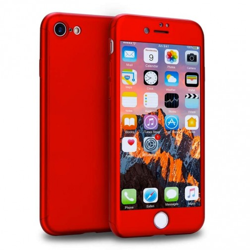 Kryt 360 pro iPhone 8/7 + tvrzené sklo na displej - červený