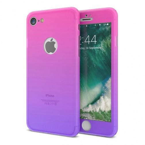 Gradient kryt 360 pro iPhone 8/7 + tvrzené sklo na displej - růžový