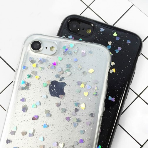 Silikonový Glitter kryt pro iPhone 8/7 se srdíčky - průhledný