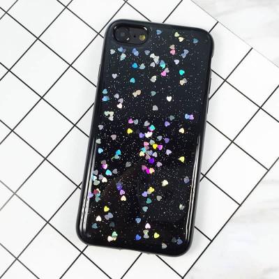 Silikonový Glitter kryt pro iPhone 8/7 se srdíčky - černý