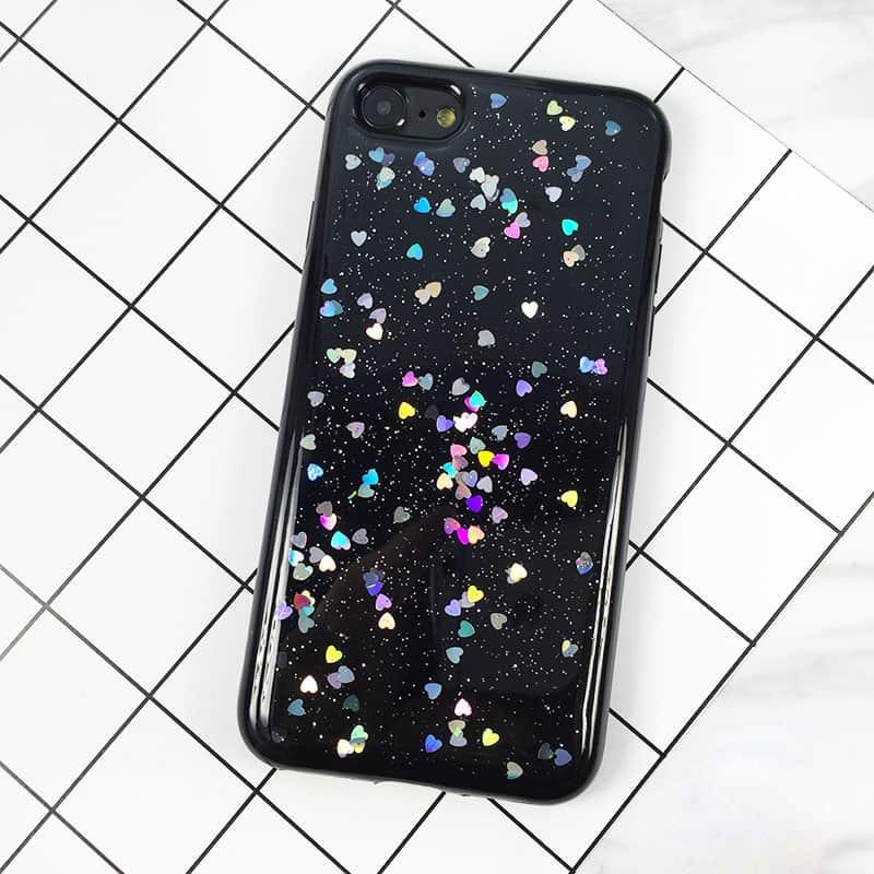 ... Silikonový Glitter kryt pro iPhone 8 7 se srdíčky - černý ... 3b33ab08e1e