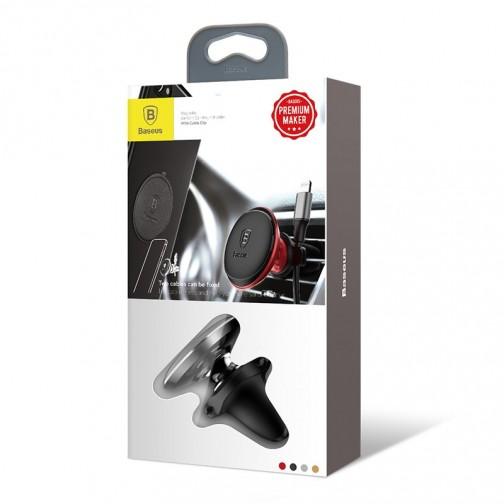 Baseus magnetický držák na ventilační mřížku - 360° otočný - držák na kabel, černý