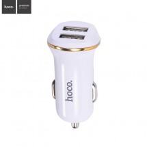 HOCO nabíječka do auta se dvěma USB porty – bílá